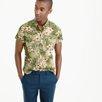 Short-sleeve shirt in jungle print