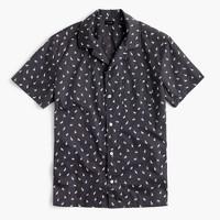 Short-sleeve camp-collar shirt in rabbit print