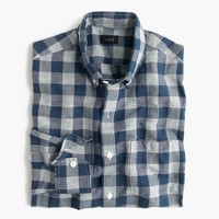 Slim end-on-end Irish cotton-linen shirt in blue plaid