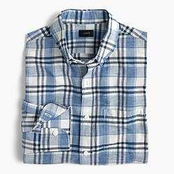 Slim end-on-end cotton-linen shirt in plaid