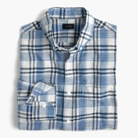 Tall end-on-end cotton-linen shirt in plaid