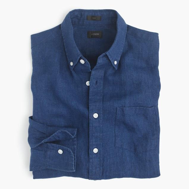 Slim indigo linen shirt