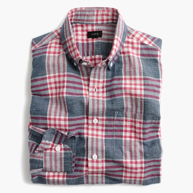 Slim end-on-end cotton-linen shirt in red plaid