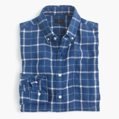 Slim indigo linen shirt in plaid