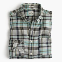 Slim madras shirt in navy and turquoise