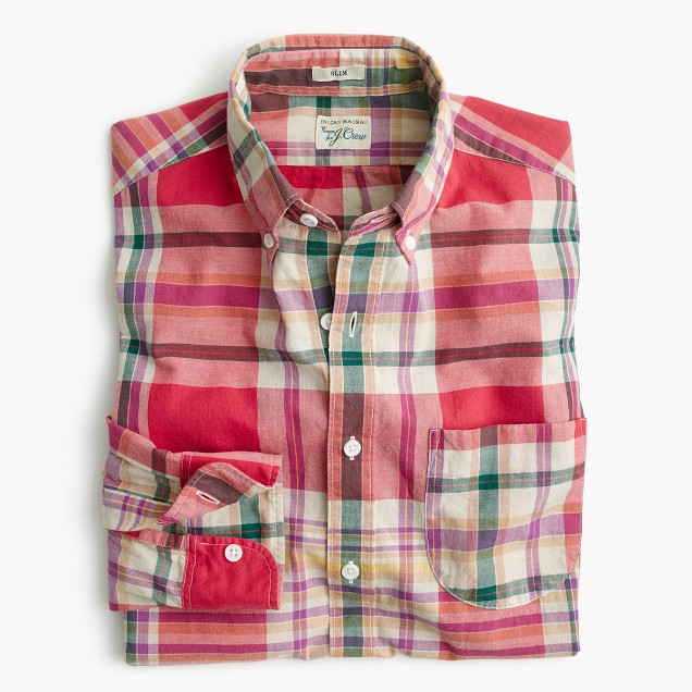 Tall madras shirt in coral plaid