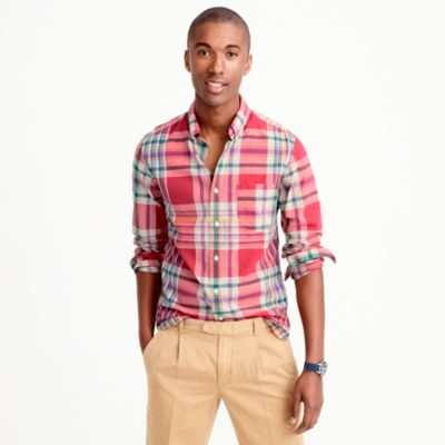 Slim madras shirt in coral plaid