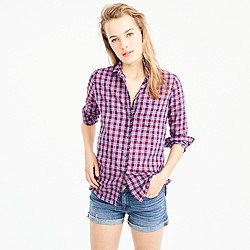 Petite boy shirt in purple twilight plaid