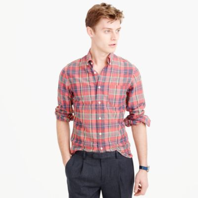 Slim madras shirt in salmon fire