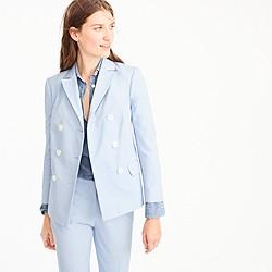 Petite double-breasted blazer in Italian cotton