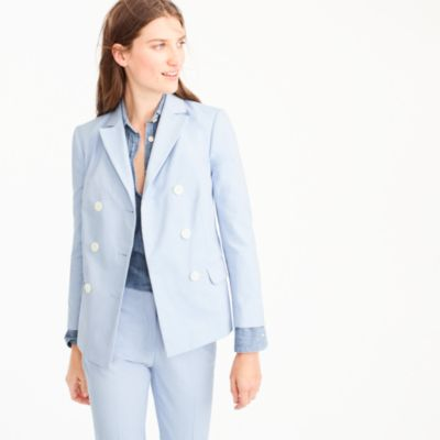 Petite double-breasted blazer in Italian cotton