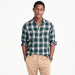 Springweight flannel in green plaid