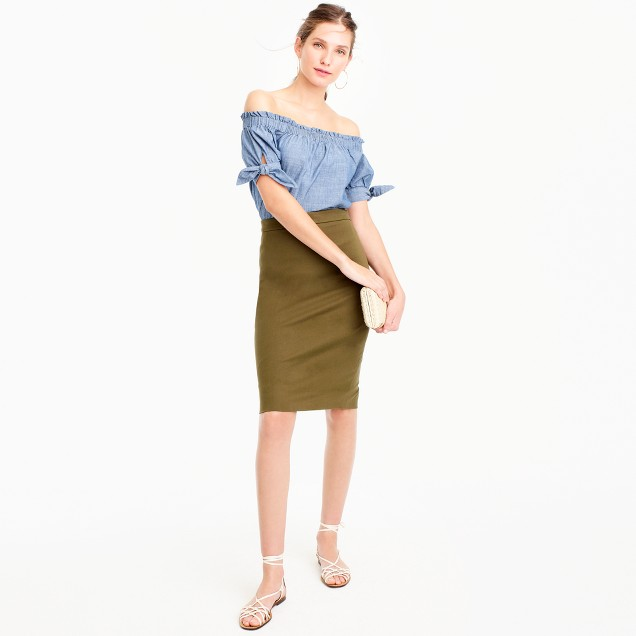 Petite No. 2 pencil skirt in two-way stretch cotton