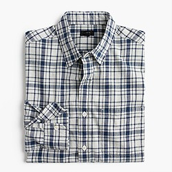 Heathered slub cotton shirt in blue-and-white plaid