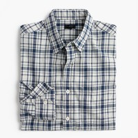 Tall heathered slub cotton shirt in blue-and-white plaid