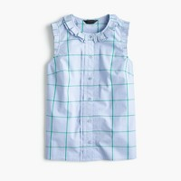 Petite pleated ruffle top in windowpane