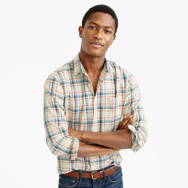 Slub cotton shirt in faded plaid