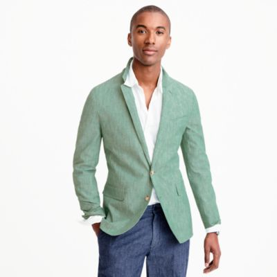 Unstructured Ludlow cotton-linen blazer in aqua