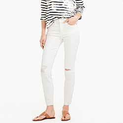 """Petite 9"""" destroyed lookout high-rise crop jean in white"""