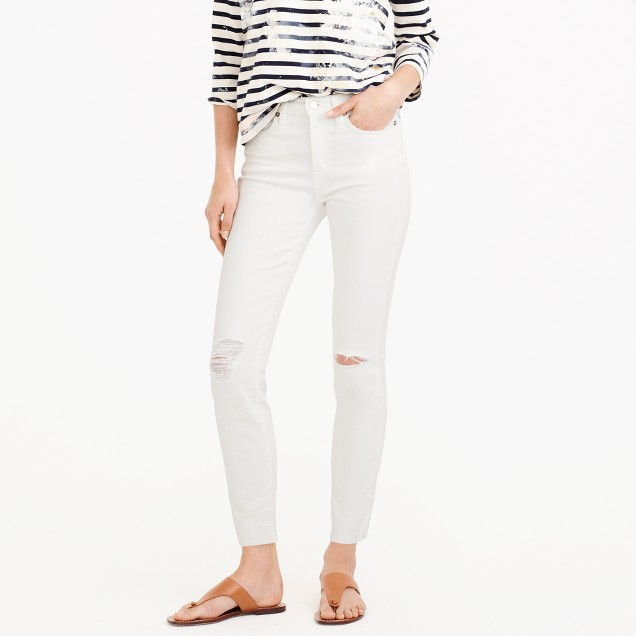 "Tall 9"" destroyed high-rise toothpick crop jean in white"