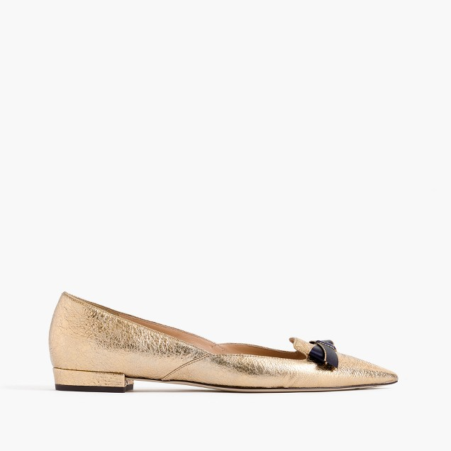 Metallic pointed-toe loafers