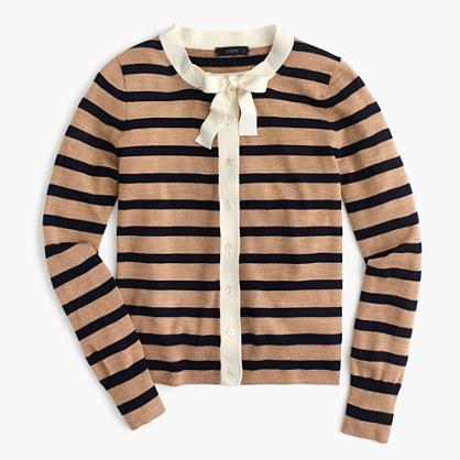 Jackie tie-neck cardigan sweater in stripes