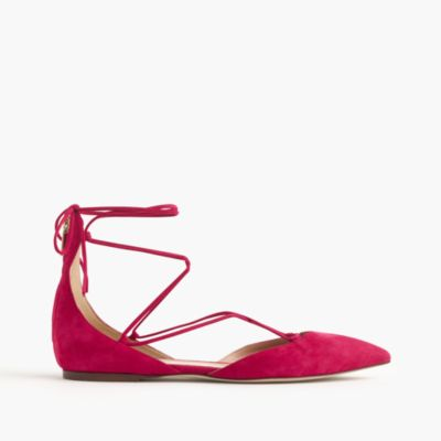 Suede lace-up pointed-toe flats