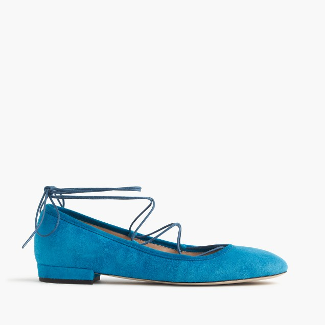 Suede lace-up flats