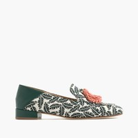 Palm-print tassel loafers