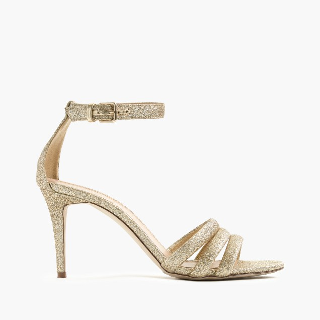 Glittery ankle-strap sandals