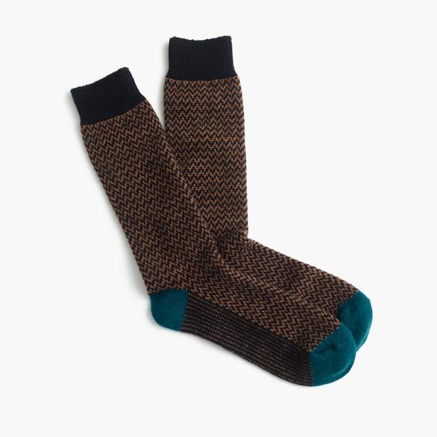 Italian cashmere zigzag socks