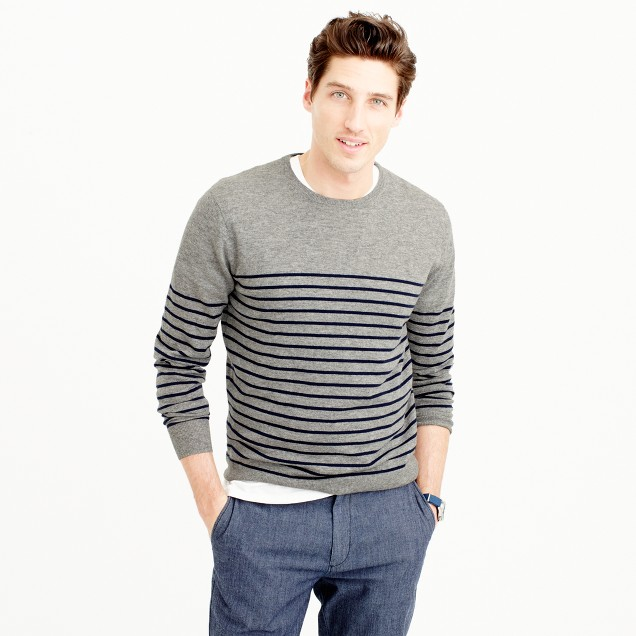 Lightweight Italian cashmere crewneck sweater in stripe