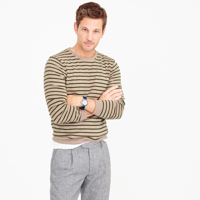 Lightweight Italian cashmere crewneck sweater in wide stripe