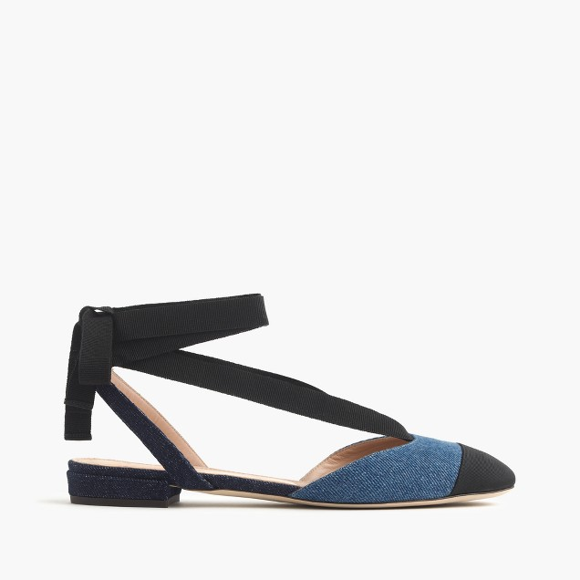 Denim ankle-wrap flats