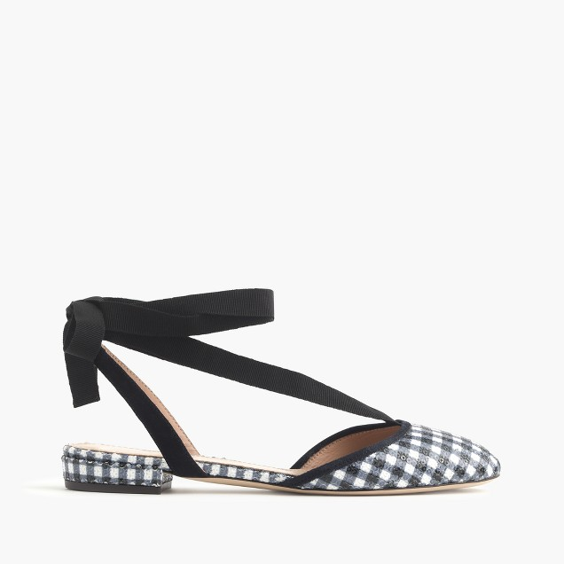 Gingham ankle-wrap flats