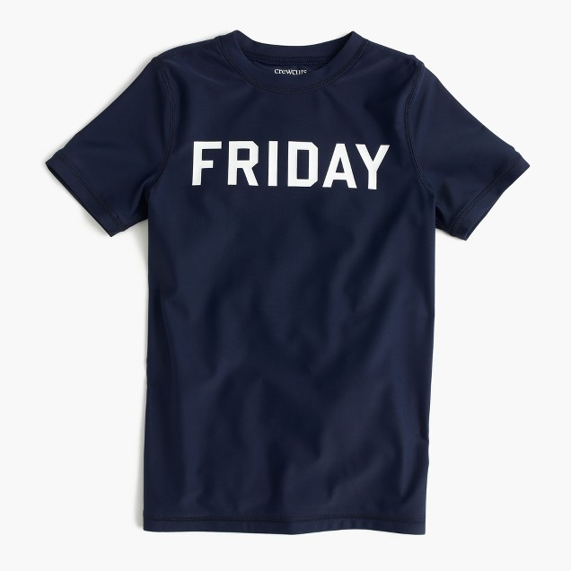 "Boys' short-sleeve rash guard in ""Friday"""