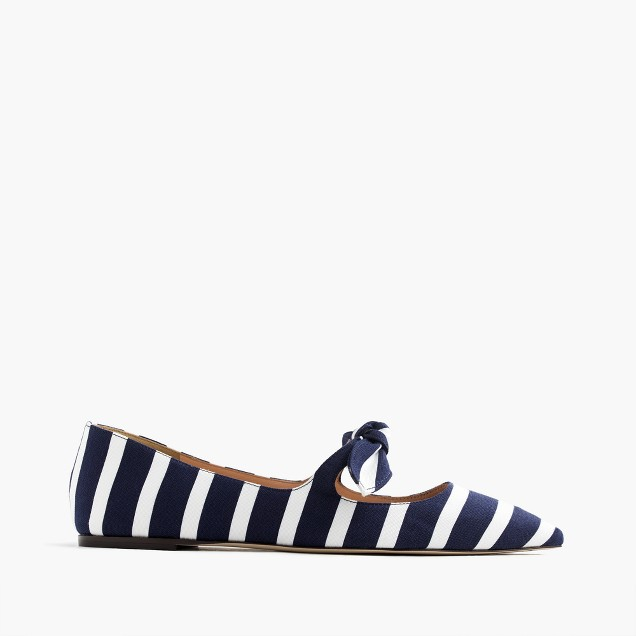 Striped tie-front flats