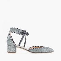Glittery ankle-tie heels