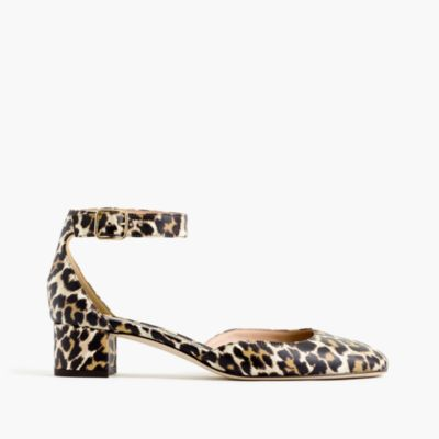 Leopard-print leather heels