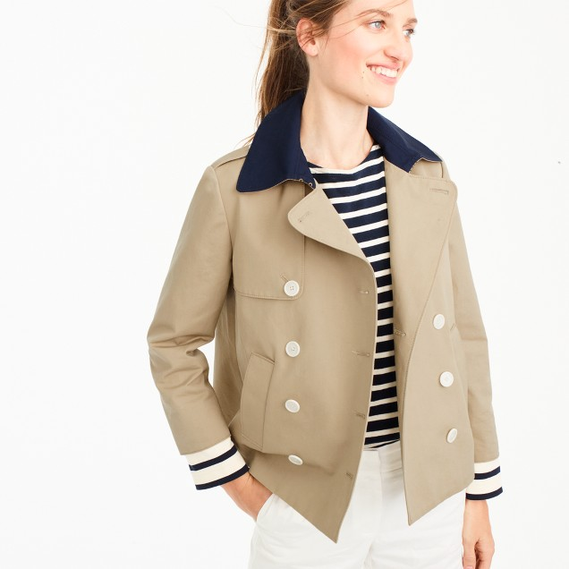 Cropped trench coat with detachable striped cuffs