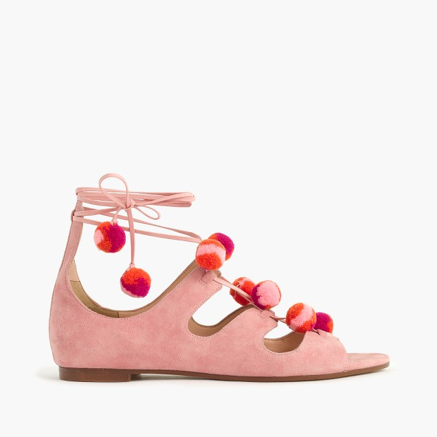 Suede caged gladiator sandals with pom-poms