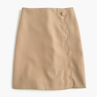Scalloped skirt in wool-cotton gabardine