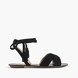 Lace-up suede sandals