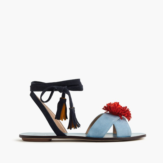 Lace-up suede sandals with pom-pom