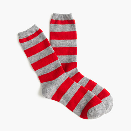 Striped cashmere trouser sock