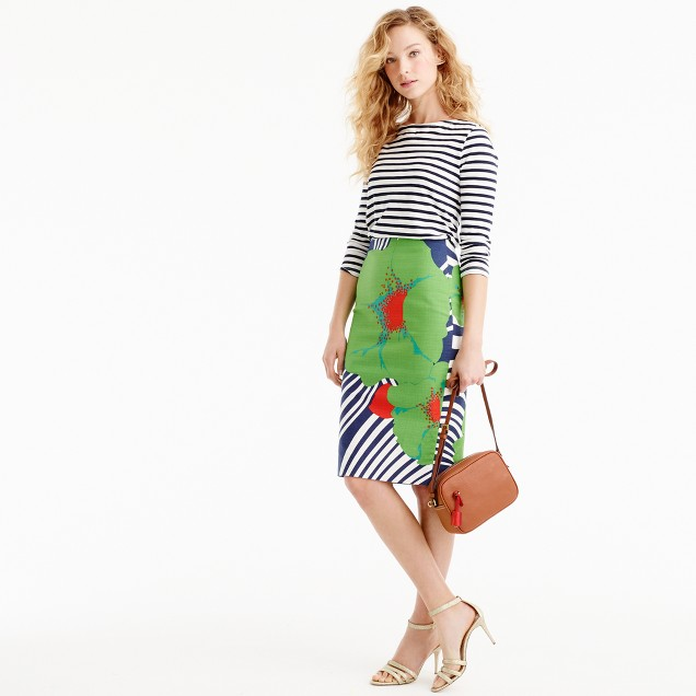 Tall pencil skirt in Ratti striped floral