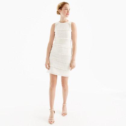 Fringey tweed sheath dress