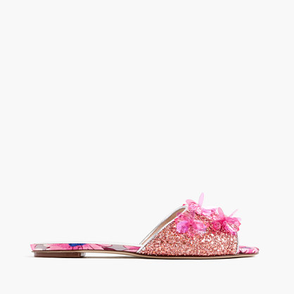 Embellished glittery slide sandals
