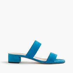 Double-strap suede slides