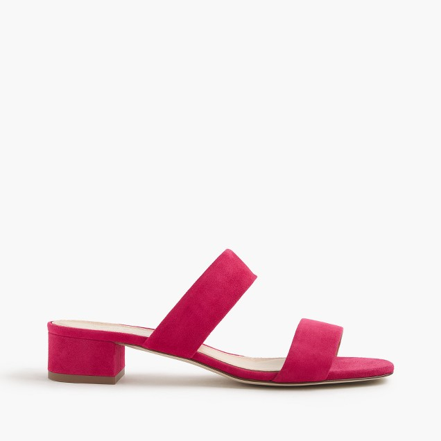 Double-strap suede slides